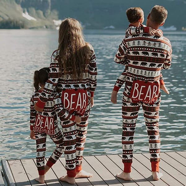 Red Bear Fair Isle Flapjack Matching Family Onesie