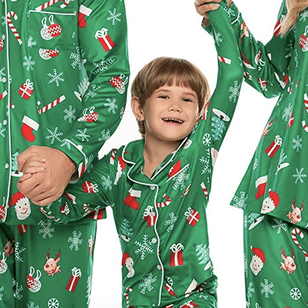 Silky Green Santa Family Christmas PJs