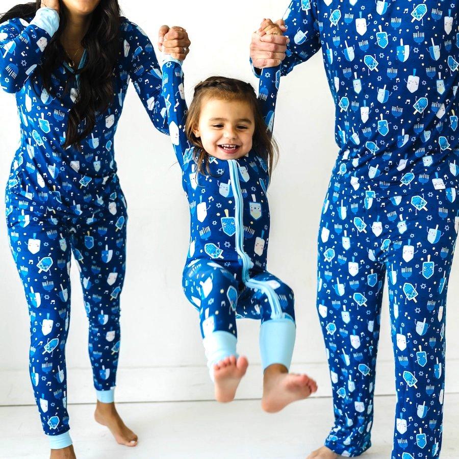 Family Matching Hanukkah Bamboo Viscose Dancing Dreidels PJs