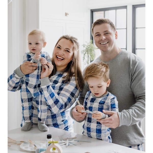 Family Matching Hanukkah Blue Frozen Plaid PJs