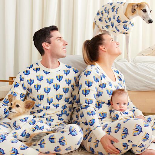 Family Matching Hanukkah Menorah Organic Cotton PJs